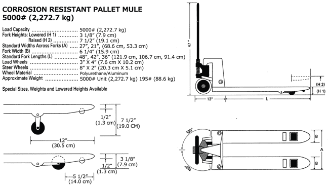 Sprecifications and drawings of corrosion resistant pallet jack