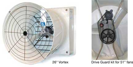 Vortex 26 inch fan, and 51 inch fan drive guard