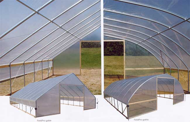 FieldPro Gable and Gothic-style high tunnel greenhouse