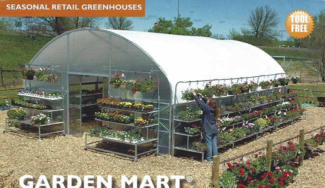 Garden-Mart seasonal retail greenhouse exterior view