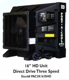 "16"" HD Direct Drive Three Speed Port-a-Cool"