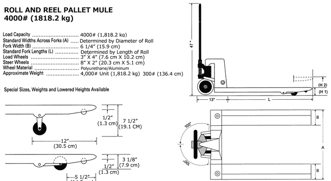 Specifications and drawings of rool and reel pallet jack