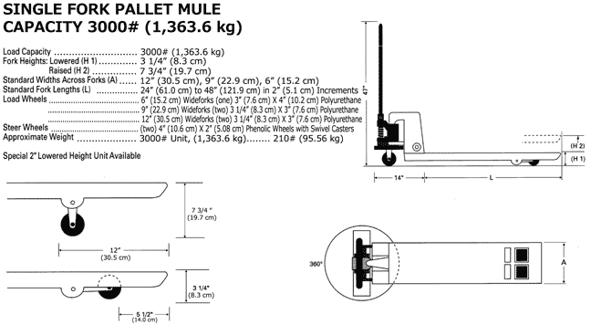 Specifications and drawings of Single fork pallet jack