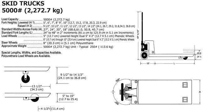 Specifications and drawings of skid truck pallet jack